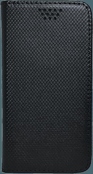 Apple iPhone SE (2020) oldalra nyíló flipes bőrtok csúsztatható, öntapadós rögzítés fekete