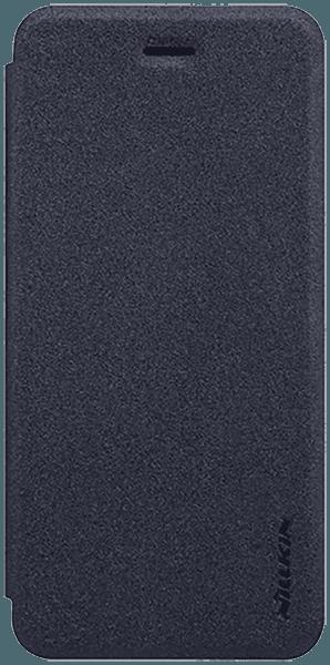Apple iPhone SE (2020) oldalra nyíló flipes műanyag tok gyári NILLKIN mikroszálas bőr flip fekete