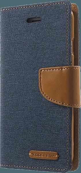 Apple iPhone SE (2020) oldalra nyíló flipes bőrtok gyári MERCURYCASE textil hatás sötétkék