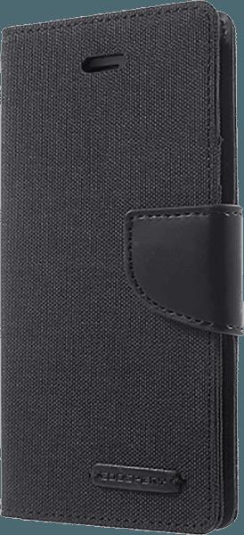 Apple iPhone SE (2020) oldalra nyíló flipes bőrtok gyári MERCURYCASE textil hatás fekete