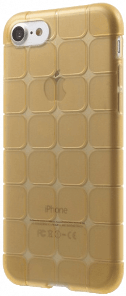 Apple iPhone SE (2020) szilikon tok kockás átlátszó arany