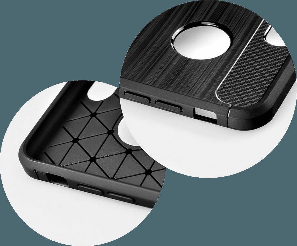 Apple iPhone X ütésálló TPU tok szálcsiszolt - karbon minta logó kihagyós légpárnás sarok sötétkék