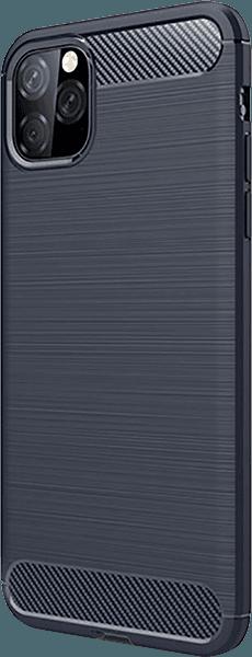 Apple iPhone 11 Pro Max ütésálló TPU tok szálcsiszolt - karbon minta légpárnás sarok sötétkék