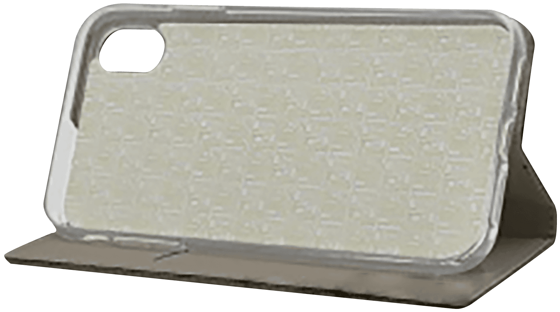 Apple iPhone XR oldalra nyíló flipes bőrtok rombusz mintás aranybarna