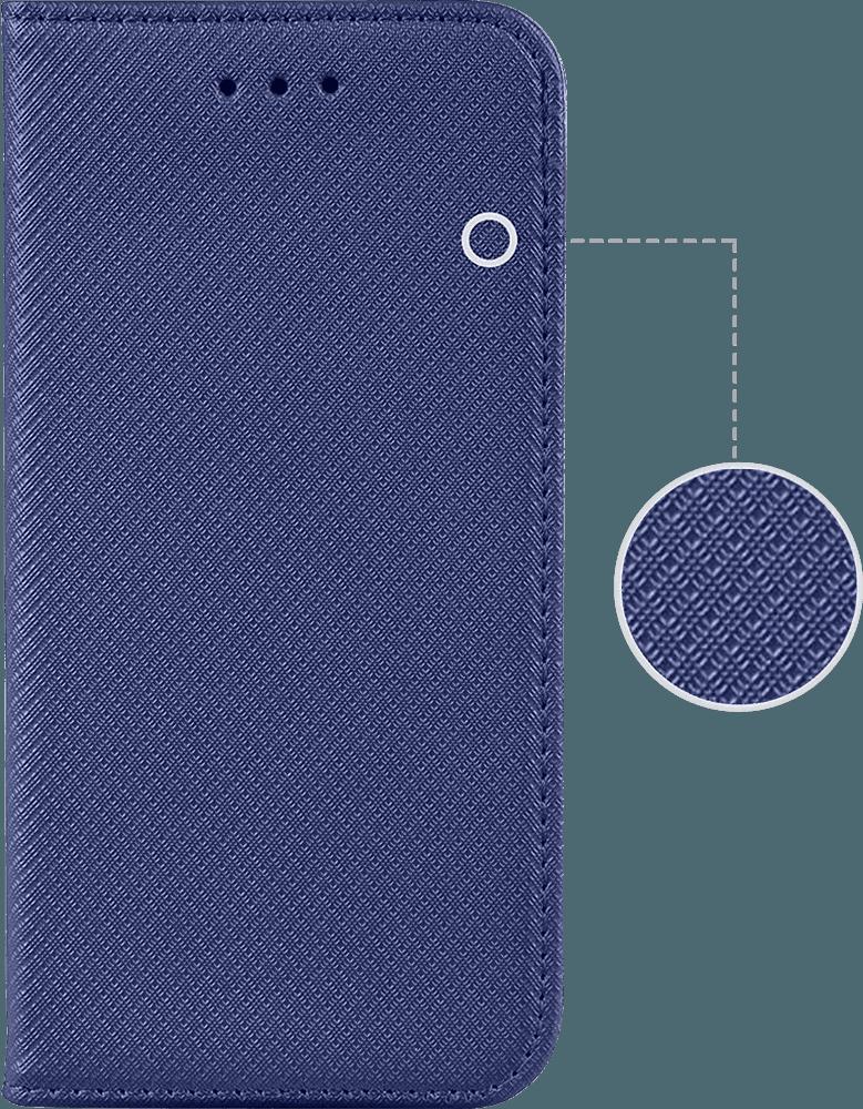 Apple iPhone XR oldalra nyíló flipes bőrtok rombusz mintás sötétkék