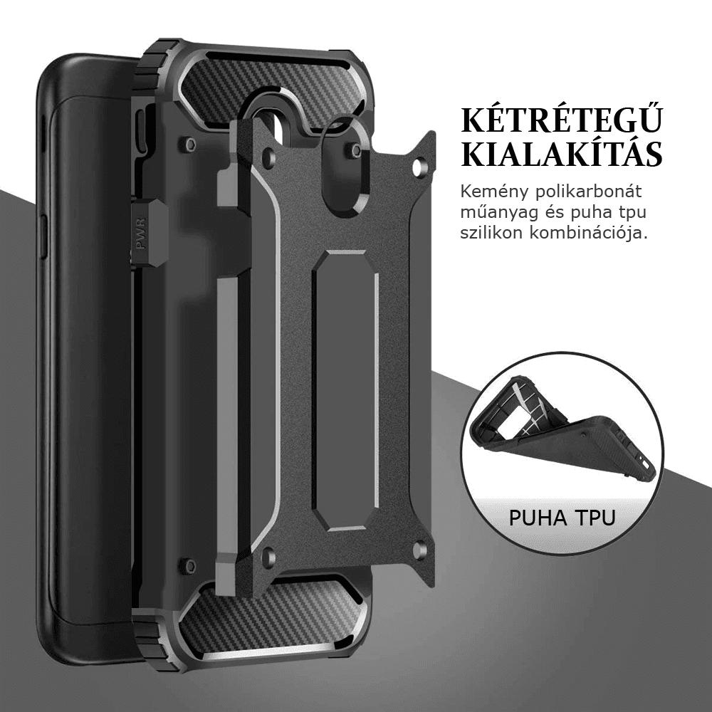 Apple iPhone X ütésálló tok légpárnás sarkas, hibrid Forcell Armor logó kihagyós fekete