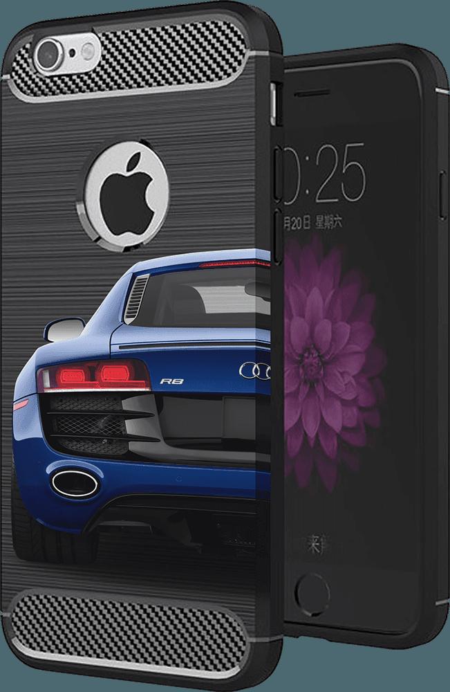 Apple iPhone XR ütésálló TPU tok szálcsiszolt - karbon minta légpárnás sarok logó kihagyós sötétkék
