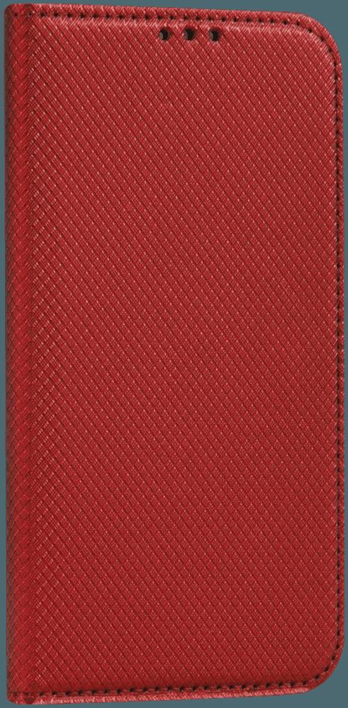 Apple iPhone X oldalra nyíló flipes bőrtok rombusz mintás piros