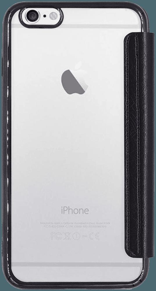 Apple iPhone 6 Plus oldalra nyíló flipes bőrtok átlátszó szilikon hátlap, fémhatású keret fekete