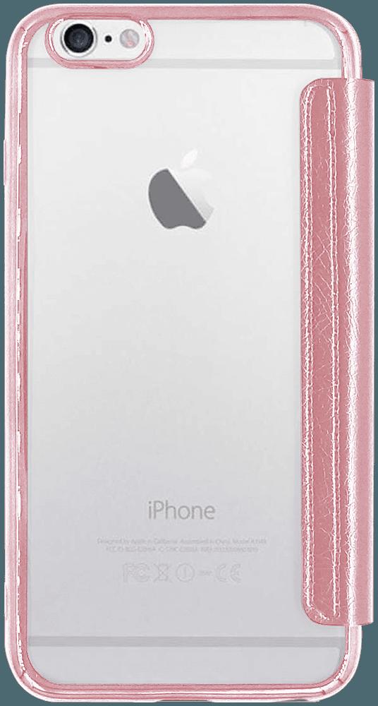 Apple iPhone 6 Plus oldalra nyíló flipes bőrtok átlátszó szilikon hátlap, fémhatású keret rozéarany