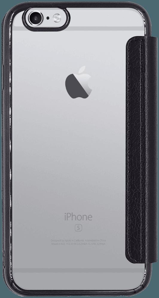 Apple iPhone 6S oldalra nyíló flipes bőrtok átlátszó szilikon hátlap, fémhatású keret fekete