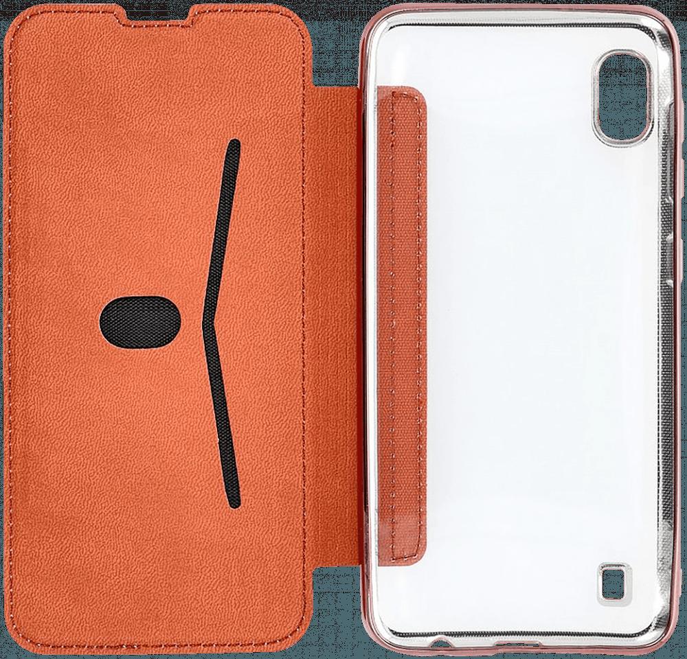 Apple iPhone 11 Pro oldalra nyíló flipes bőrtok átlátszó szilikon hátlap, fémhatású keret rozéarany