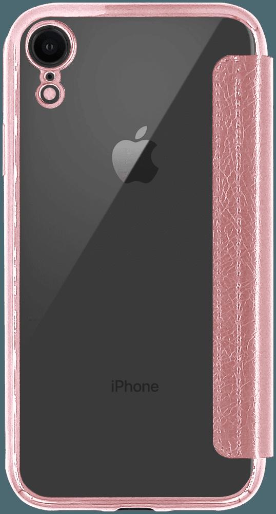 Apple iPhone XR oldalra nyíló flipes bőrtok átlátszó hátlap rozéarany