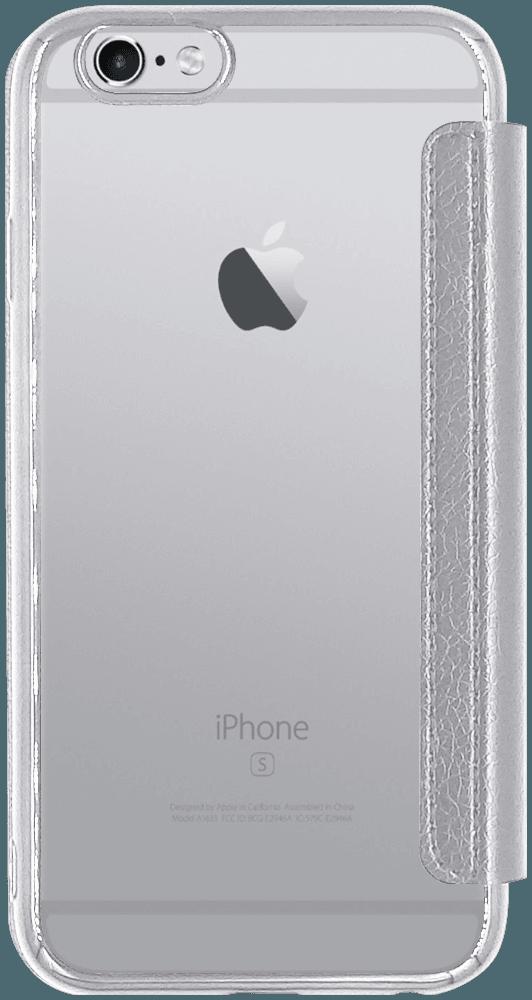 Apple iPhone 6 oldalra nyíló flipes bőrtok átlátszó szilikon hátlap, fémhatású keret ezüst