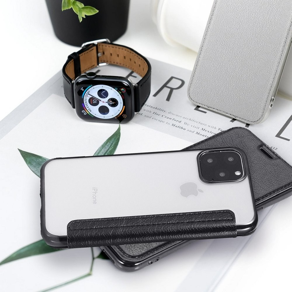 Apple iPhone 6S oldalra nyíló flipes bőrtok átlátszó szilikon hátlap, fémhatású keret ezüst
