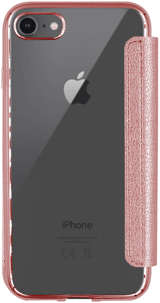 Apple iPhone SE (2020) oldalra nyíló flipes bőrtok átlátszó szilikon hátlap, fémhatású keret rozéarany