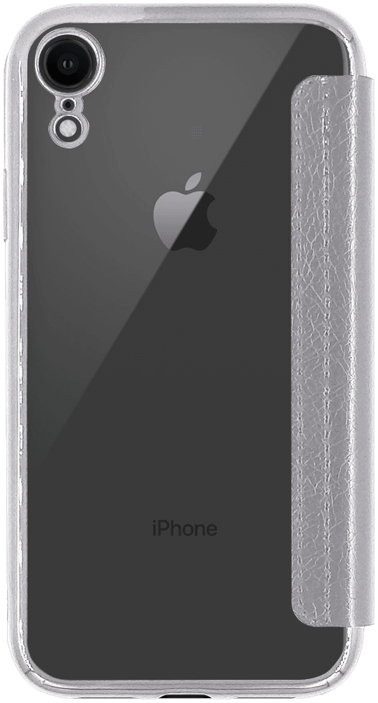 Apple iPhone XR oldalra nyíló flipes bőrtok átlátszó szilikon hátlap, fémhatású keret ezüst