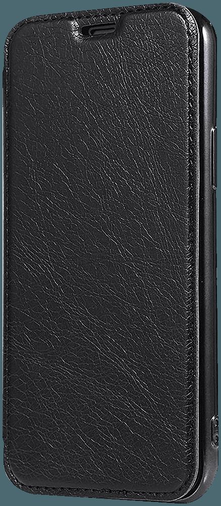 Apple iPhone XR oldalra nyíló flipes bőrtok átlátszó szilikon hátlap, fémhatású keret fekete