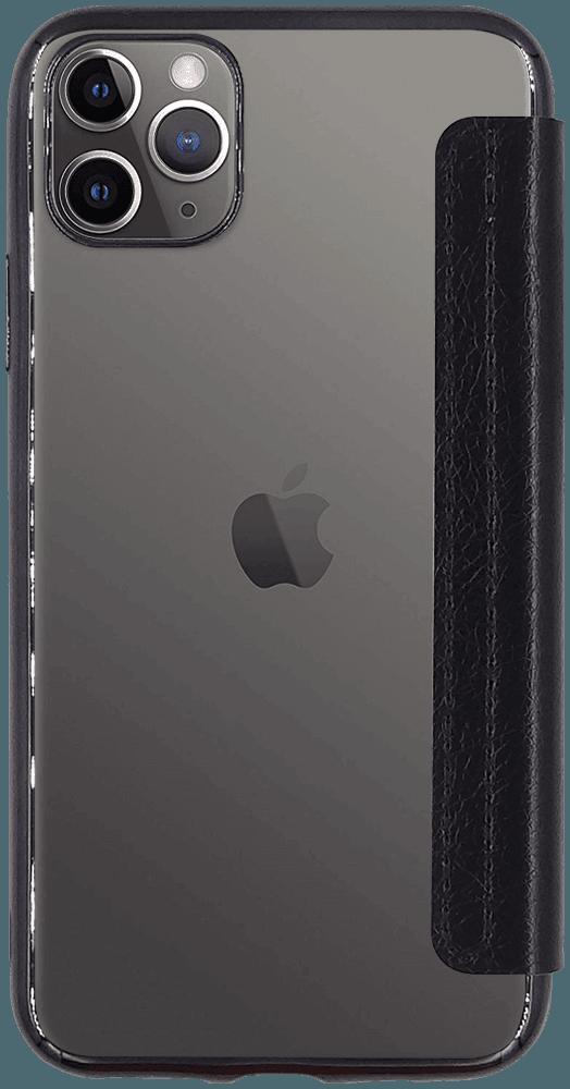 Apple iPhone 11 Pro Max oldalra nyíló flipes bőrtok átlátszó szilikon hátlap, fémhatású keret fekete