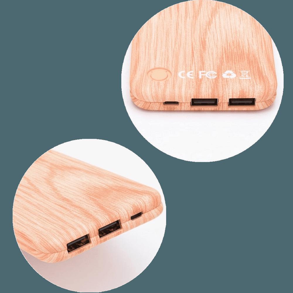 HTC Desire (A8181) power bank - külső akkumulátor 10000 mAh világos faminta