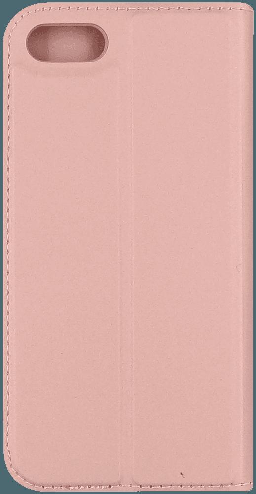 Apple iPhone SE (2020) oldalra nyíló flipes bőrtok elől-hátul mágneses rozéarany