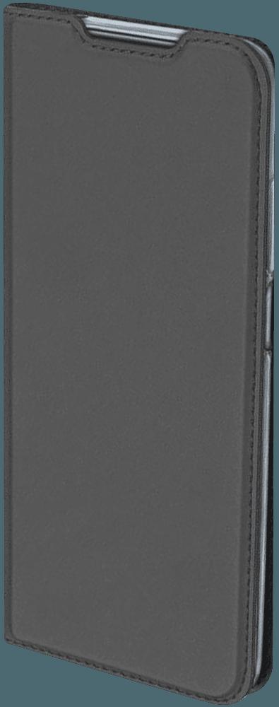 Apple iPhone X oldalra nyíló flipes bőrtok elől-hátul mágneses szürke