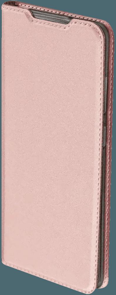 Apple iPhone XS oldalra nyíló flipes bőrtok elől-hátul mágneses rozéarany