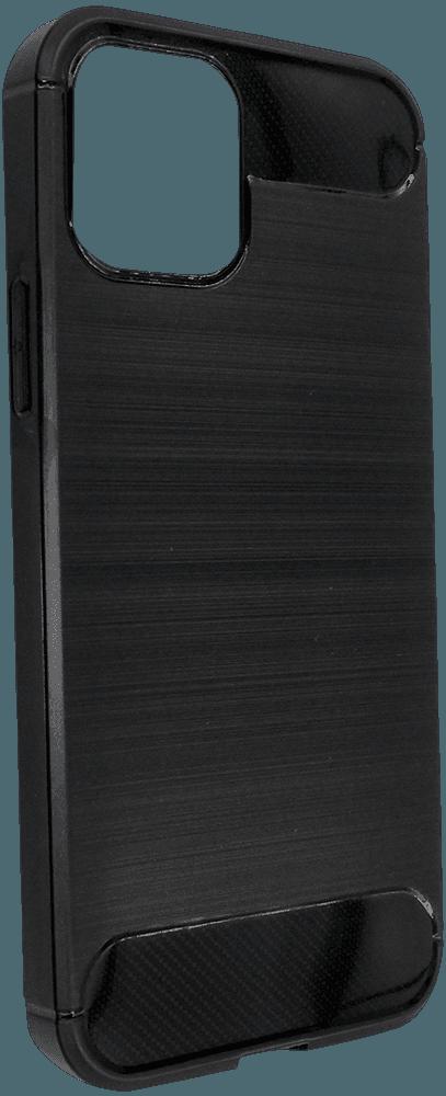Apple iPhone 12 ütésálló TPU tok szálcsiszolt-karbon minta légpárnás sarok fekete