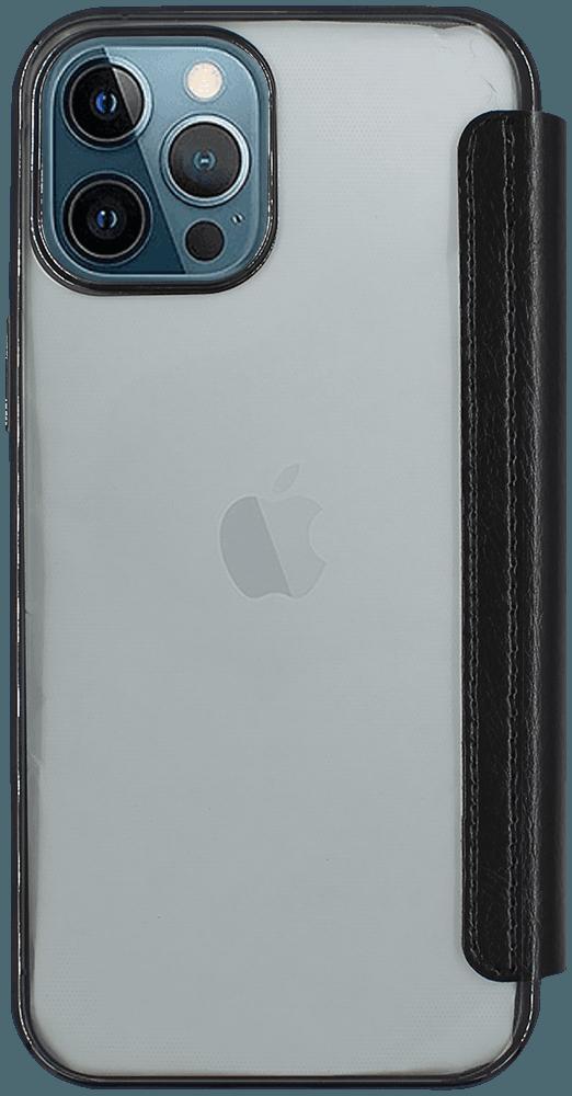 Apple iPhone 12 Pro Max oldalra nyíló flipes bőrtok átlátszó szilikon hátlap, fémhatású keret fekete