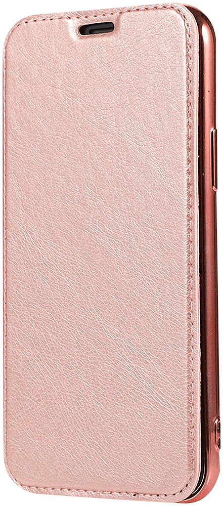 Apple iPhone 12 Pro Max oldalra nyíló flipes bőrtok átlátszó szilikon hátlap, fémhatású keret rozéarany