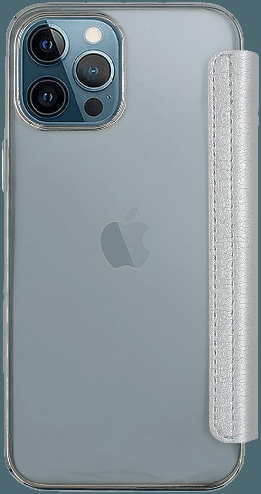 Apple iPhone 12 Pro Max oldalra nyíló flipes bőrtok átlátszó szilikon hátlap, fémhatású keret ezüst