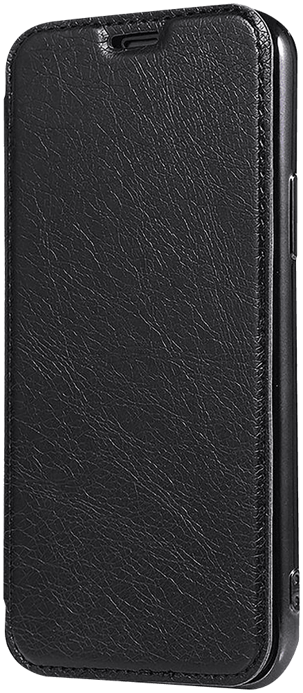 Apple iPhone 12 Pro oldalra nyíló flipes bőrtok átlátszó szilikon hátlap, fémhatású keret fekete