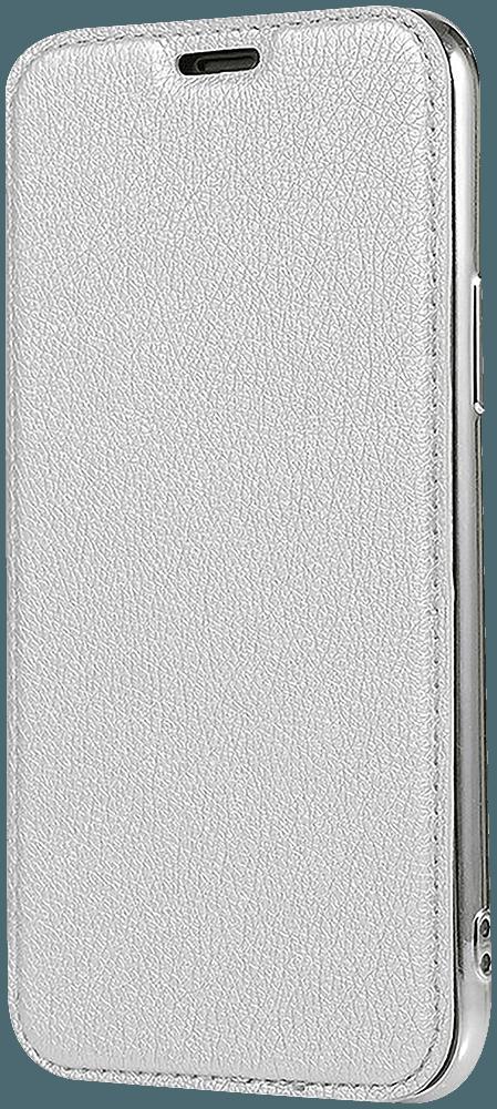 Apple iPhone 12 oldalra nyíló flipes bőrtok átlátszó szilikon hátlap, fémhatású keret ezüst