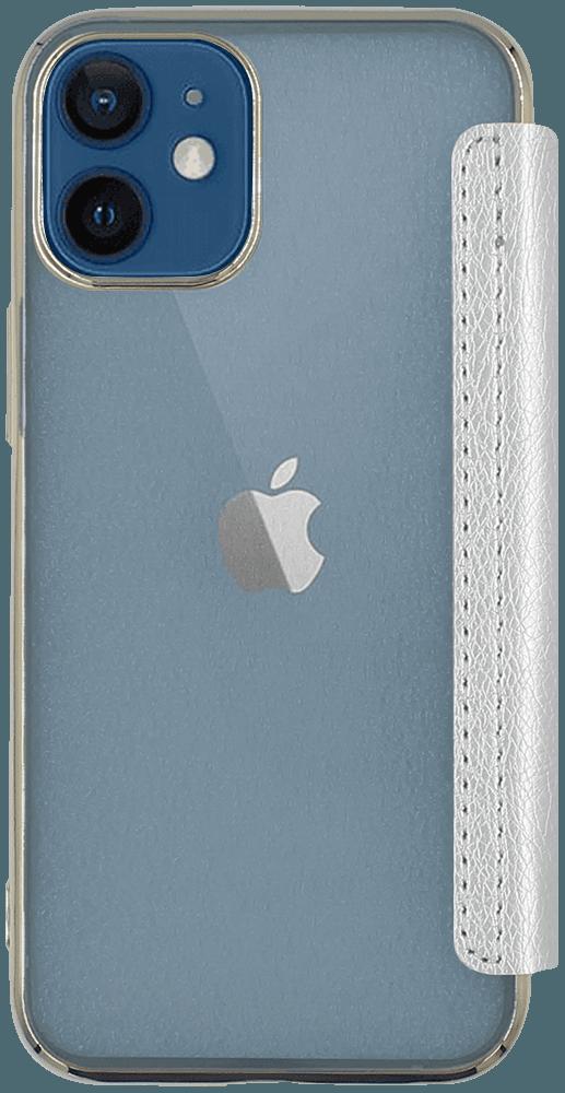 Apple iPhone 12 Mini oldalra nyíló flipes bőrtok átlátszó szilikon hátlap, fémhatású keret ezüst