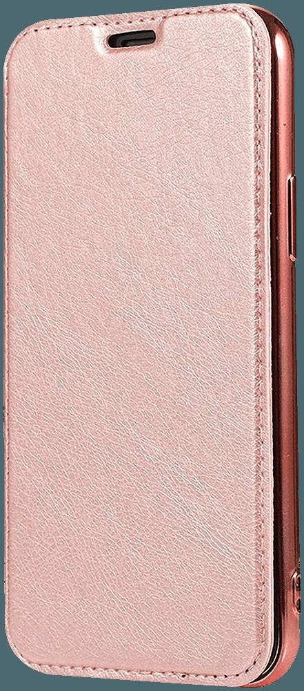 Apple iPhone 12 Pro oldalra nyíló flipes bőrtok átlátszó szilikon hátlap, fémhatású keret rozéarany