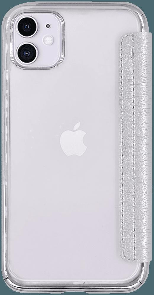 Apple iPhone 11 oldalra nyíló flipes bőrtok átlátszó hátlap ezüst