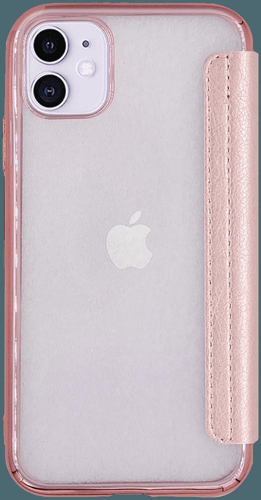 Apple iPhone 11 oldalra nyíló flipes bőrtok fémhatású keret rozéarany