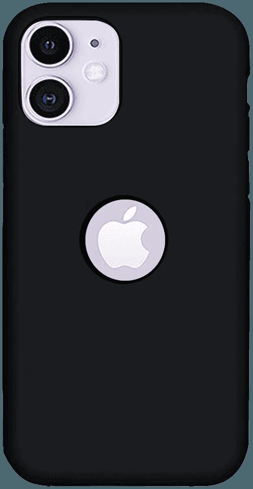 Apple iPhone 11 szilikon tok logó kihagyós matt fekete
