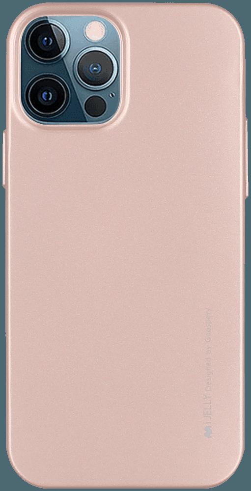 Apple iPhone 12 Pro szilikon tok gyári MERCURYCASE fémhatású rozéarany