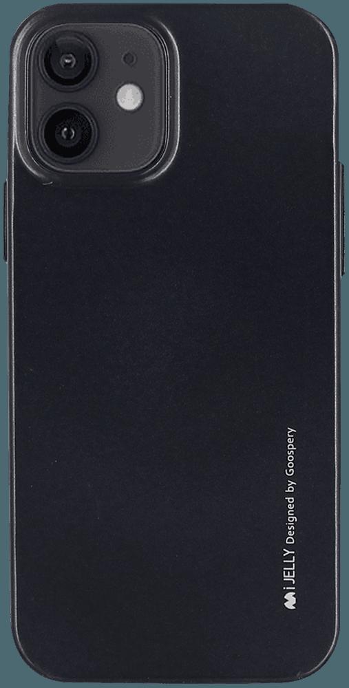 Apple iPhone 12 szilikon tok gyári MERCURYCASE fémhatású fekete