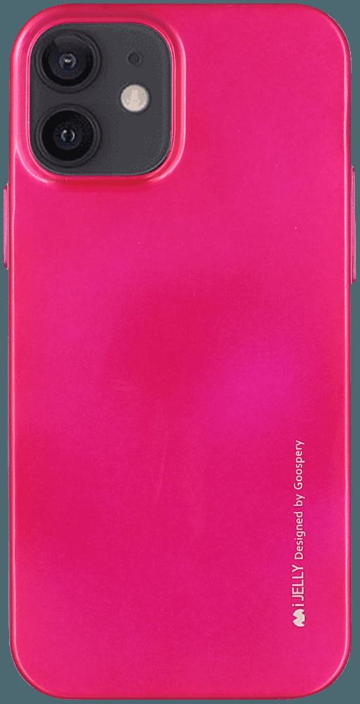 Apple iPhone 12 szilikon tok gyári MERCURYCASE fémhatású rózsaszín
