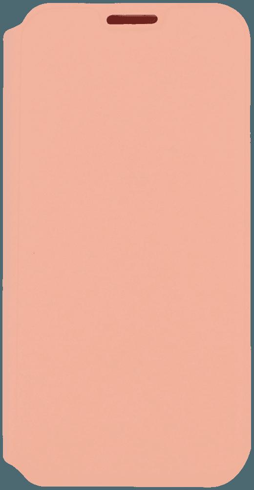 Apple iPhone 12 Pro oldalra nyíló flipes bőrtok bankkártya tartó barackszínű