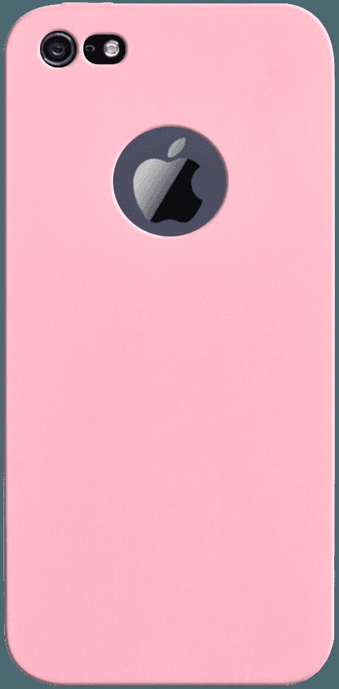Apple iPhone 5S szilikon tok logó kihagyós babarózsaszín