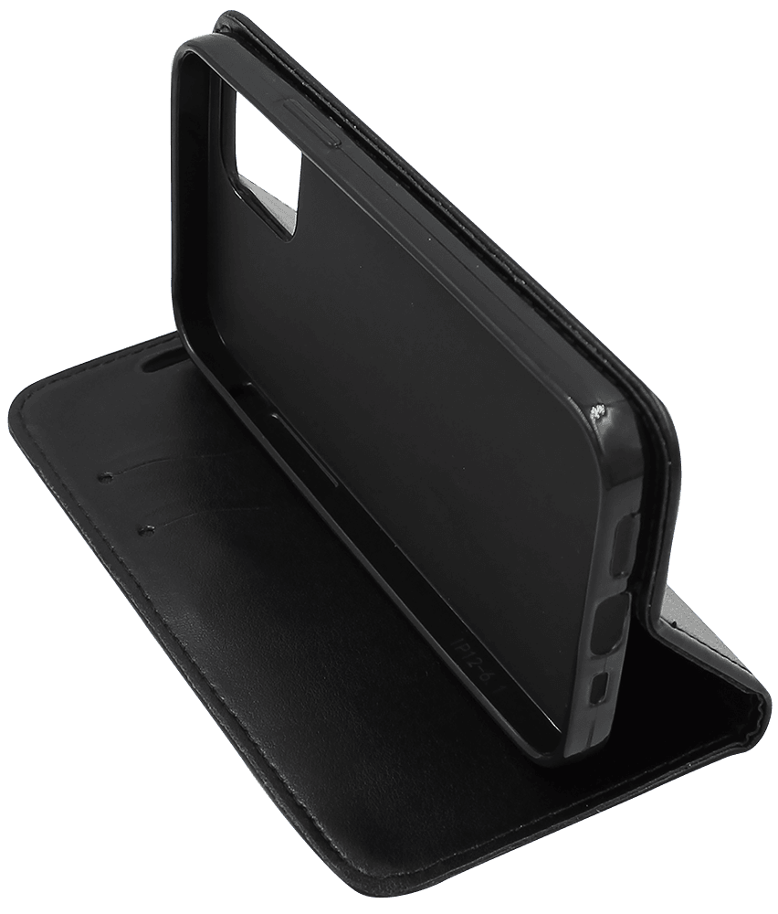 Apple iPhone 12 oldalra nyíló flipes bőrtok asztali tartó funkciós fekete