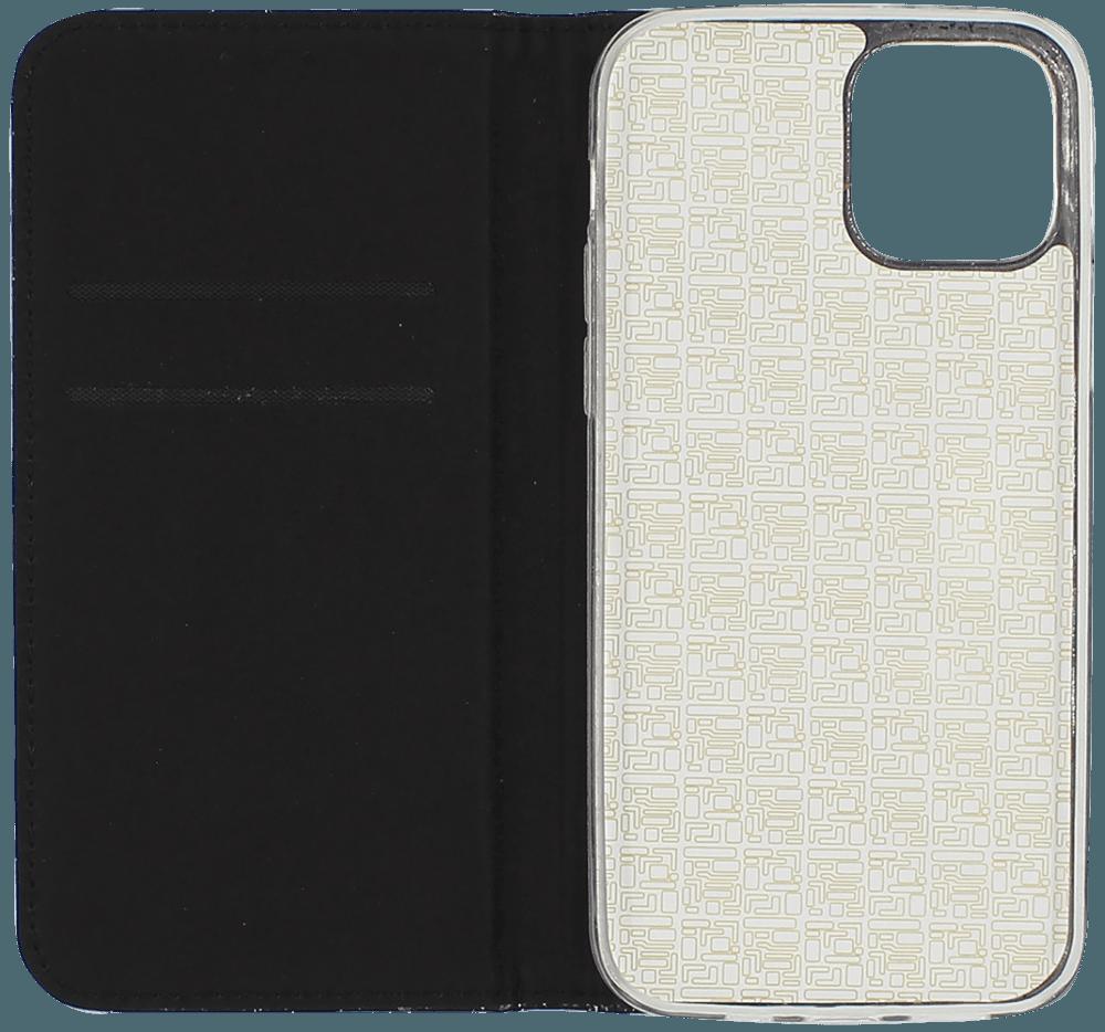 Apple iPhone 12 oldalra nyíló flipes bőrtok csillámos fekete