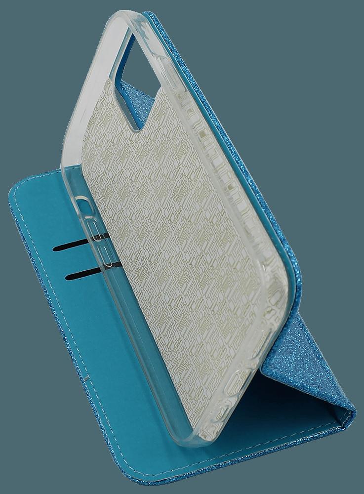 Apple iPhone 12  oldalra nyíló flipes bőrtok csillámos átlátszó kék