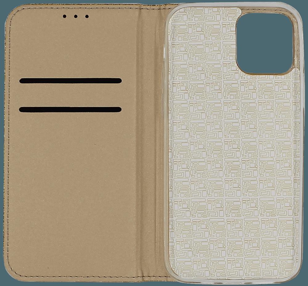 Apple iPhone 12 Pro oldalra nyíló flipes bőrtok csillámos arany