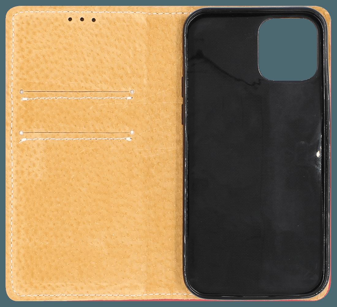 Apple iPhone 12 oldalra nyíló flipes bőrtok valódi bőr piros