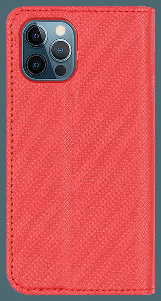 Apple iPhone 12 Mini oldalra nyíló flipes bőrtok valódi bőr piros