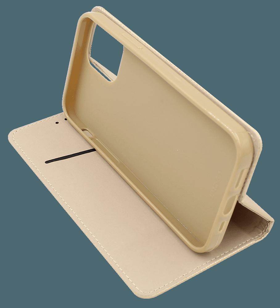 Apple iPhone 12 oldalra nyíló flipes bőrtok rombusz mintás arany